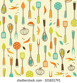 Seamless Pattern of Kitchen utensil in Retro-Styled