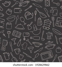 Seamless pattern  kitchen utensils in a hand-drawn doodle style on blackboard. Cooking tools household appliances, utensils, for textile print, wrapping paper, card. Vector illustration on dark