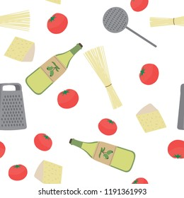 Seamless pattern with Kitchen utensils: spaghetti, tomatoes, cheese, olive oil, grater, skimmer on a blue background. The ingredients for a recipe of pasta. Vector illustration.