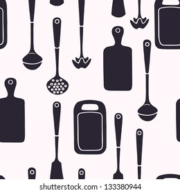 Seamless pattern with kitchen utensils. Vector background.
