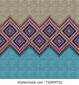 Seamless Pattern. Knit Woolen Trendy Ornament Texture. Fabric Color Tracery Background
