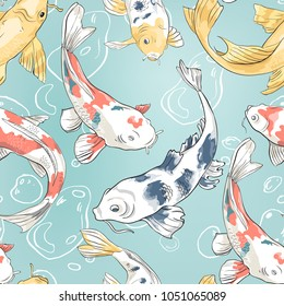 Seamless pattern with koi and bubbles in the pond Background with colorful fish