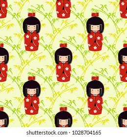 Seamless pattern with kokeshi doll in oriental style