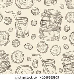 Seamless pattern with kombucha: mushroom, jar with kombucha tea. Super food. Vector hand drawn illustration