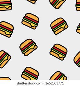 Seamless pattern of krabby patty or burger from spongebob squarepants cartoon