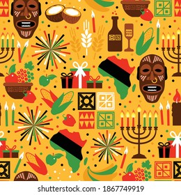 Seamless pattern for Kwanzaa with traditional colored and candles representing the Seven Principles or Nguzo Saba. Yellow background.