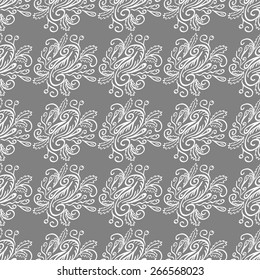 Seamless pattern with lace ornaments, natural elements, doodle style