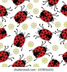 Seamless pattern ladybug flower on white background