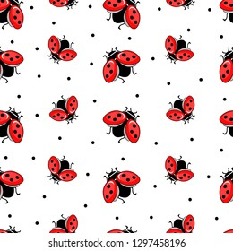 Seamless pattern with ladybug on white isolated background. Abstract silhouette of a ladybug. Beautiful design for wallpapers, fabrics, posters.