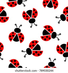 Seamless pattern with ladybugs