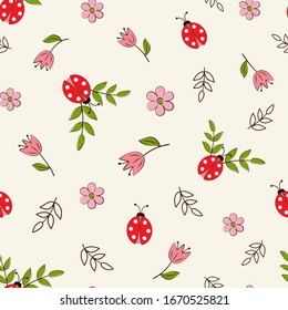 Seamless pattern with ladybugs and flowers on a white background in a flat style.