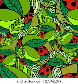Seamless pattern with ladybugs on green leaves