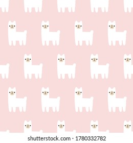 seamless pattern, lama art surface design for fabric scarf and decor