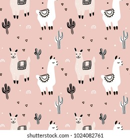 Seamless pattern with lama, cactus and decorative elements. Vector illustration