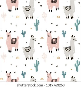 Seamless pattern with lama, cactus and hand drawn elements. Great for fabric, textile Vector Illustration