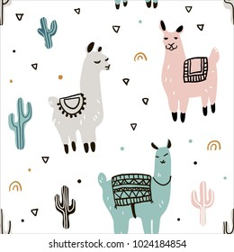 Seamless pattern with lama and cactus. Hand drawn style. Vector Illustration