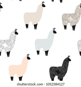 Seamless pattern with lama. Flock of multicolored alpacas. Scandinavian style.