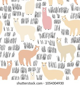 Seamless pattern with lama. Flock of multicolored alpacas. Scandinavian style. Perfect for kids fabric, textile, nursery wallpaper.