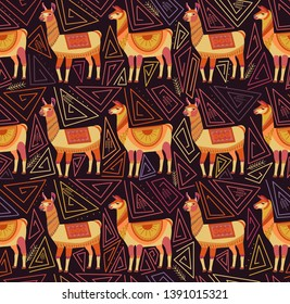 Seamless pattern with lamas and abstract geometric shapes on a dark background. Color ornament in the national style of the Indian tribes. Fantasy drawing of folk art. Vector
