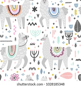 Seamless pattern with lamas made in vector. Modern hand drawn style. Good for wallpaper, greeting cards, children room decoration, etc.