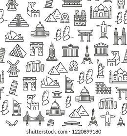Seamless pattern with landmarks. Black and white thin line icons