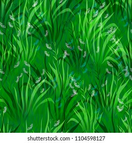 Seamless Pattern, Landscape, Summer or Spring Meadow, White and Blue Flowers and Green Grass, Tile Natural Floral Background. Vector