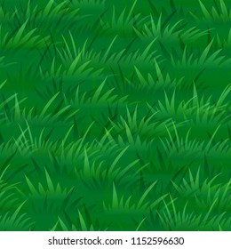 Seamless Pattern, Landscape, Summer or Spring Lawn, Green Grass Silhouettes, Tile Natural Floral Background. Vector