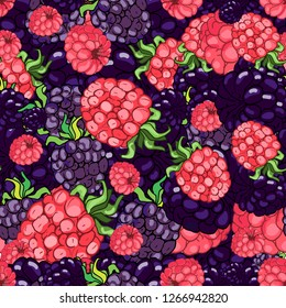 Seamless pattern with large berries, raspberries, blackberries. Background with wild berries, Hand drawing. Vector graphics eps 10