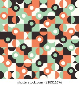 Seamless pattern with large circles and semicircles.