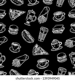 Seamless pattern of latte, cappuccino, burger, hamburger, hotdog, frappe, shawarma, espresso, slice of pizza, americano and americano in cup for take away in the engraving style on black background.