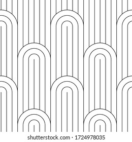 Seamless pattern of lattices from semicircles and straight thin lines on a white background, simple geo pattern, classic fabric print, seamless trellis background