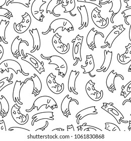 Seamless pattern lazy cat, vector illustration