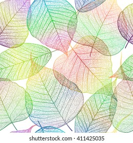 Seamless pattern with leaf, autumn leaves background. Vector illustration.