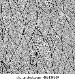 Seamless pattern with leaf, black and white leaves background. Vector texture design.