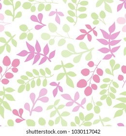 Seamless pattern with leaf. Botanical floral backdrop.