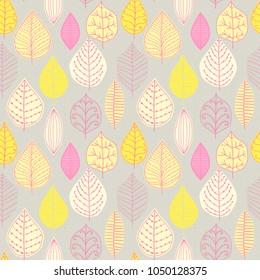 Seamless pattern with leaf. Botanical floral backdrop.