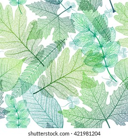 Seamless pattern with leaf, green leaves background. Vector illustration, EPS10.