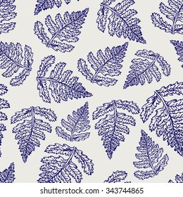Seamless pattern leaf. Pen ball lady ferns lief vector background. Sketch medicinal plant seamless texture. Hand drawn illustration for print, decoration, design, web, wrapping