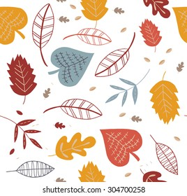 A seamless pattern with leaf,autumn leaf background. Eps.
