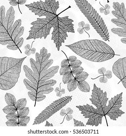 Seamless pattern with leaf,black and white leaves background. Vector illustration.