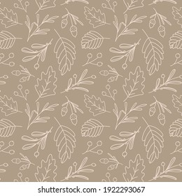Seamless pattern of leafs and acorns. Vector  background. Autumn theme.