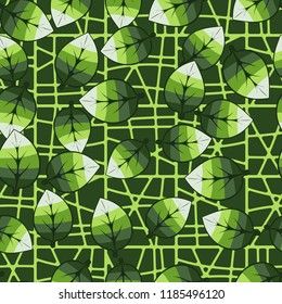 A seamless pattern of leaves arranged in random order against a chaotic lattice background. - Shutterstock ID 1185496120