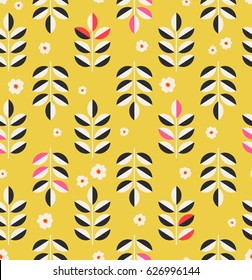 seamless pattern with leaves and blossoms