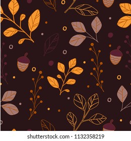 seamless pattern leaves branch in autum