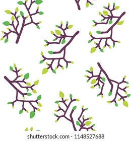 Seamless pattern with leaves and branches, simple eco design