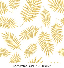 Seamless pattern with leaves, design in golden color. Vector illustration.