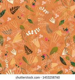 Seamless pattern of leaves, flowers, branches berries witn outline elemnts in warm autumn coloures on pastel background, For wrapping paper, wallpaper, fabric pattern, backdrop, print, gift wrap