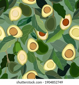 Seamless pattern with leaves and fruits avocado tree on a green background. Vector illustration with plants. EPS 10