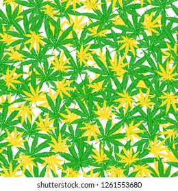 Seamless pattern with leaves of hemp, marijuana, hashish. Marijuana leaf. Cannabis plant