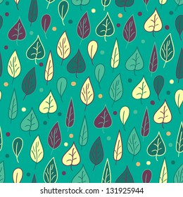 Seamless pattern with leaves on turquoise background within green, turquoise, yellow and purple colors